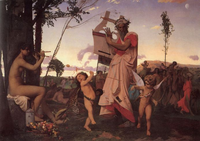 Gerome, Jean Leon: Anacreon, Bacchus and Cupid. Fine Art Print/Poster. Sizes: A4/A3/A2/A1 (002837)